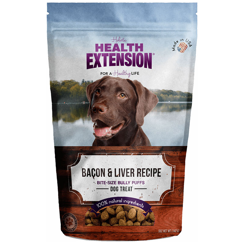 Holistic Health Extension Bully Puff Bacon and Liver Dog Treats 5oz I013442