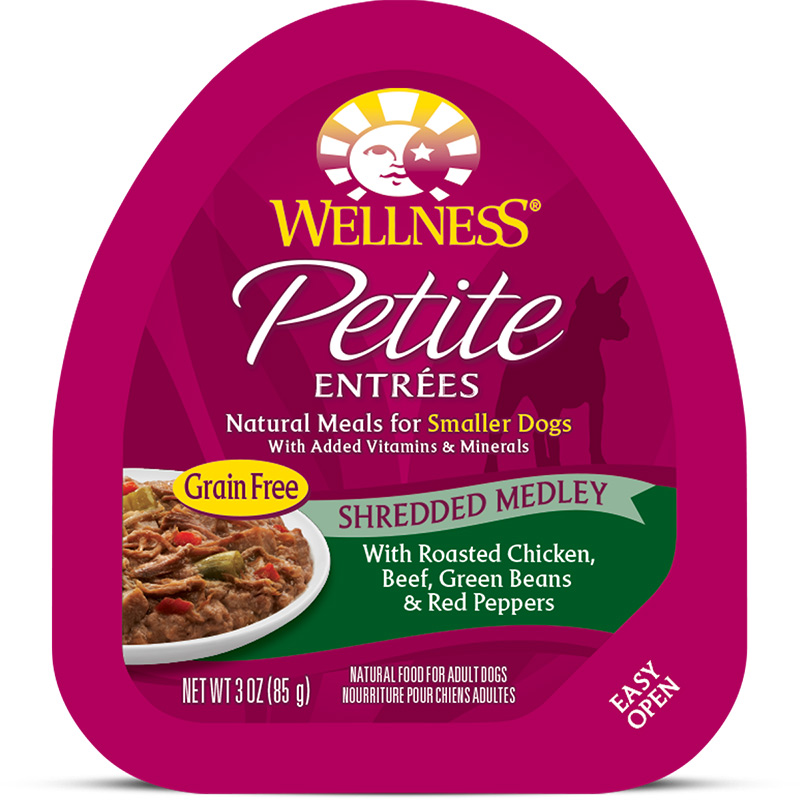 Wellness Petite Entrees Shredded Medley Roasted Chicken, Beef, Green Beans & Red Peppers Dog Food 3oz Tub I013454