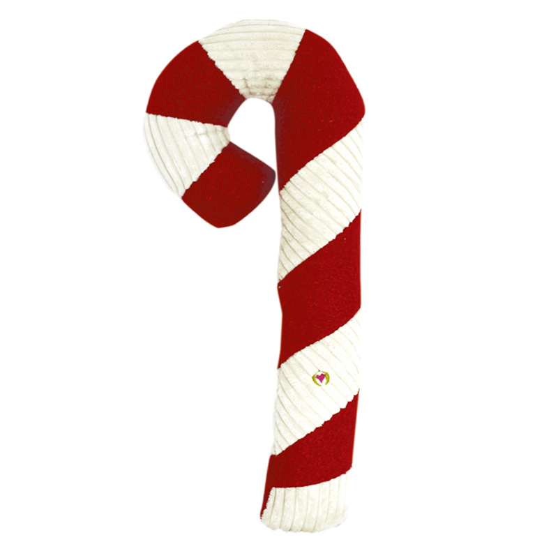 HuggleHounds Holiday Candy Cane Dog Toy Super Size With Invincible Squeaker I013665