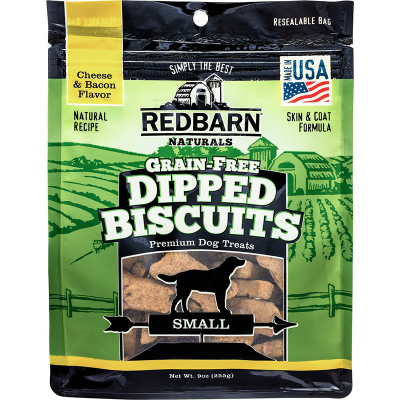 Redbarn Grain-Free Cheese n' Bacon Dipped Biscuits 9 oz.  I013709b
