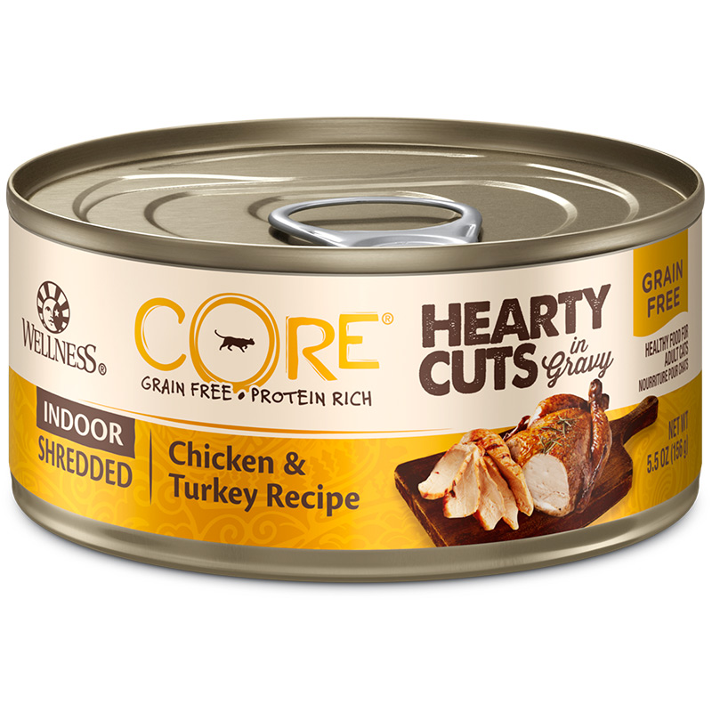 Wellness CORE Hearty Cuts Indoor Shredded Chicken & Turkey Cat Food 5.5oz Can I013721
