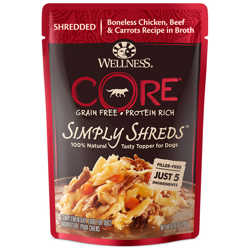 Wellness CORE Simply Shreds Mixer or Topper Chicken, Beef & Carrots Recipe Dog Food 2.8oz Pouch I013728