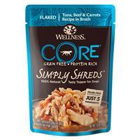 Wellness core Simply Shreds Mixer or Topper Tuna, Beef & Carrots Dog Food 2.8oz Pouch I013731