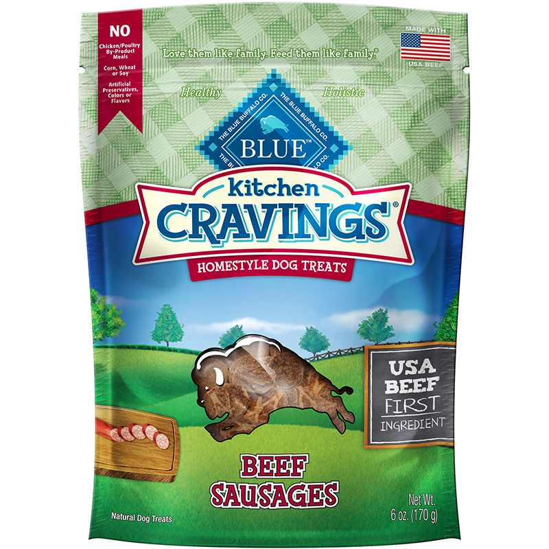 Blue Kitchen Cravings Beef Sausages Homestyle Dog Treats 6 oz. I013777