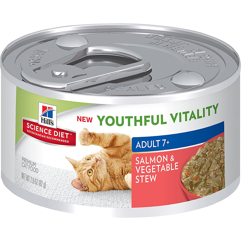 Hill's Science Diet Youthful Vitality Adult 7+ Salmon & Vegetable Stew Can Cat Food 2.9 oz. I013943