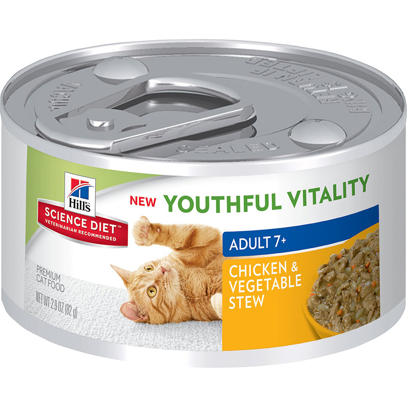 Hill's Science Diet Youthful Vitality Adult 7+ Chicken & Vegetable Entrée Can Cat Food 2.9 oz. I013947