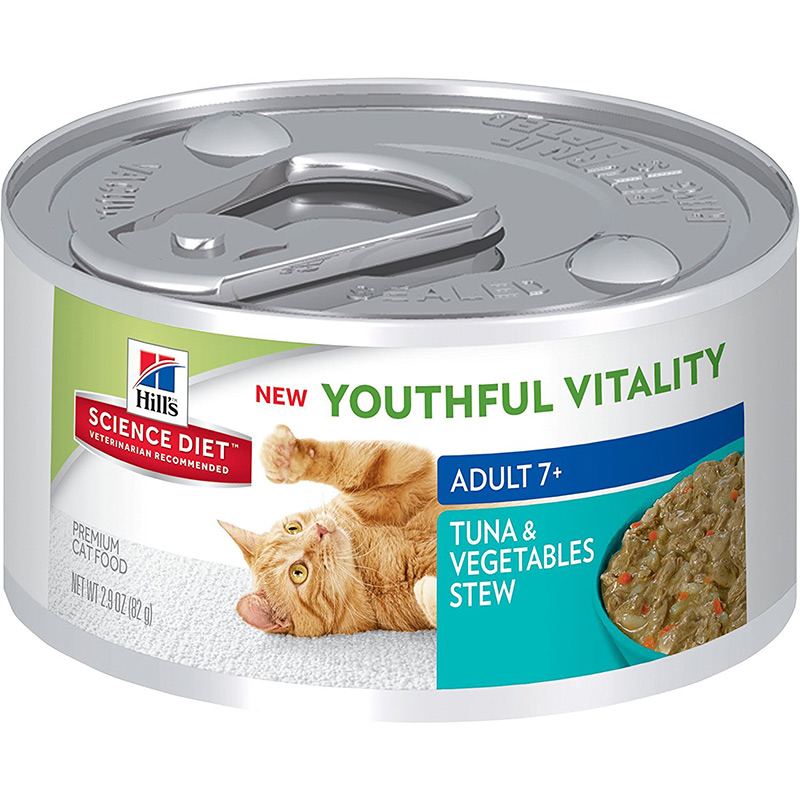 Hill's Science Diet Youthful Vitality Adult 7+ Tuna & Vegetable Stew Can Cat Food 2.9 oz. I013948