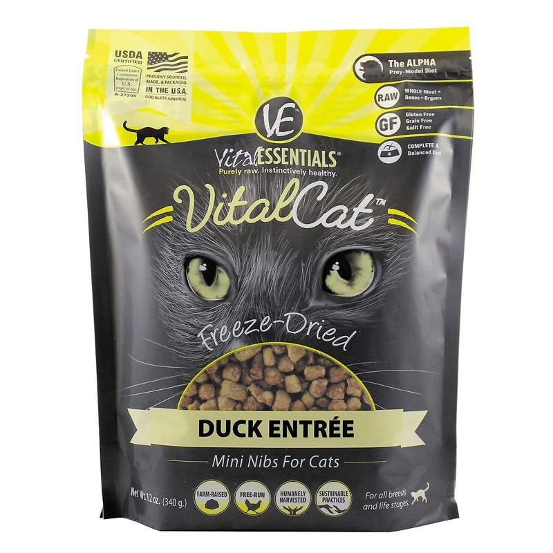 Vital Essentials Vital Cat Duck Entrée Freeze-Dried Mini Nibs 12 oz  I013965