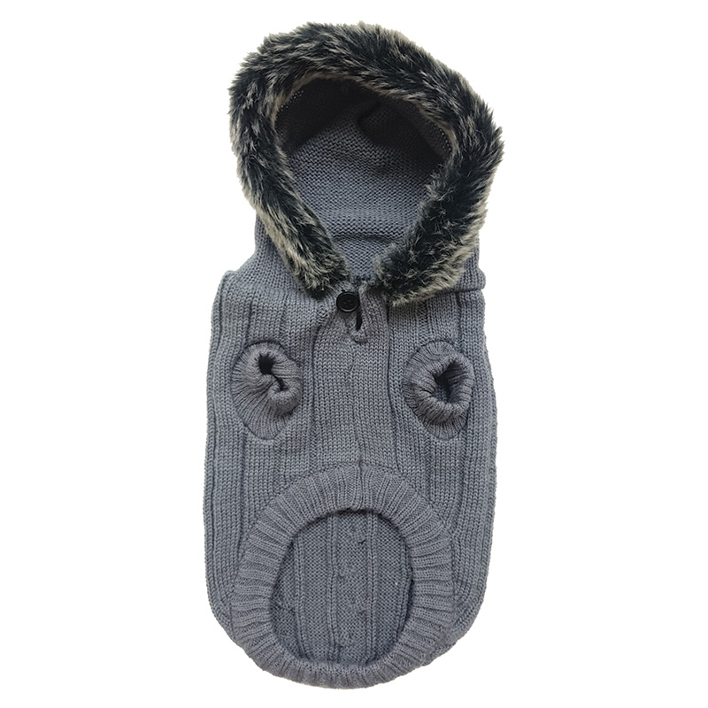 Ethical Products Fashion Pet Faux Fur Trim Hooded Sweaters Gray I014145