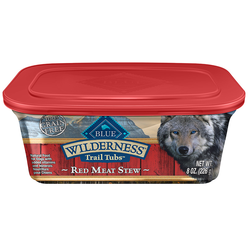 Blue Buffalo Wilderness Trail Tub Red Meat Stew Dog Food 8oz.