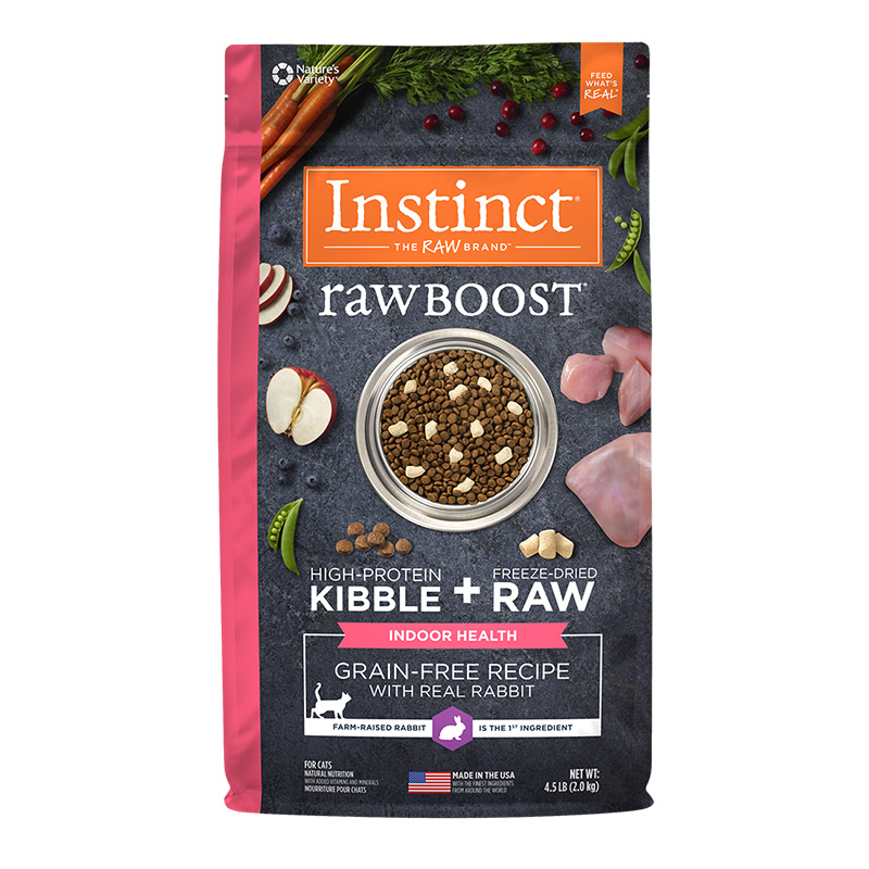 Nature's Variety Raw Boost Indoor Grain-Free Recipe with Real Rabbit Dry Cat Food 4.5 Lb. Bag I014419