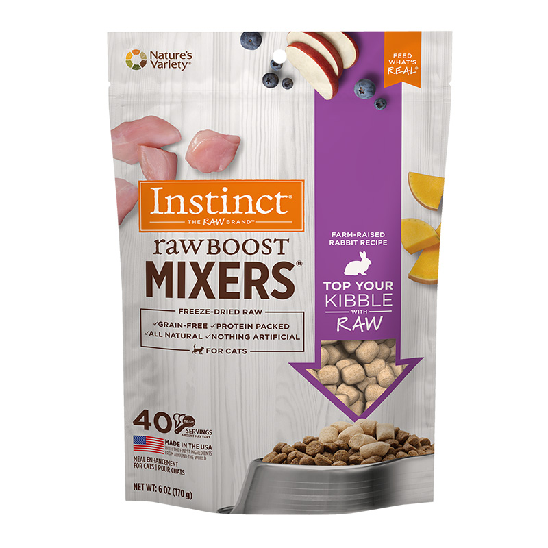 Nature's Variety Instinct Raw Boost Mixers Rabbit Recipe Freeze-Dried Cat Food Topper 6 oz bag I014502