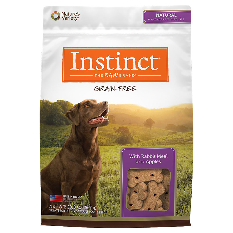 Nature's Variety Instinct Grain-Free Biscuits with Rabbit Meal & Apples 20 oz I014503