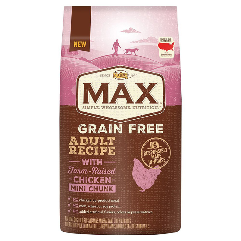 NUTRO MAX Adult Grain Free Recipe with Farm Raised Chicken Mini Chunk I014675b