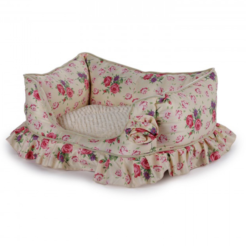 Shabby Chic Dog Bed Yellow Bolster I014696