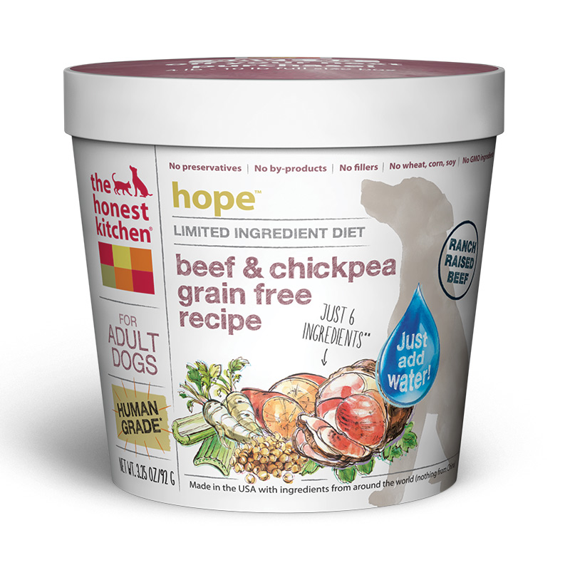 The Honest Kitchen Hope Beef and Chicpea Grain-Free Single Serve Cup 3.25oz I014741