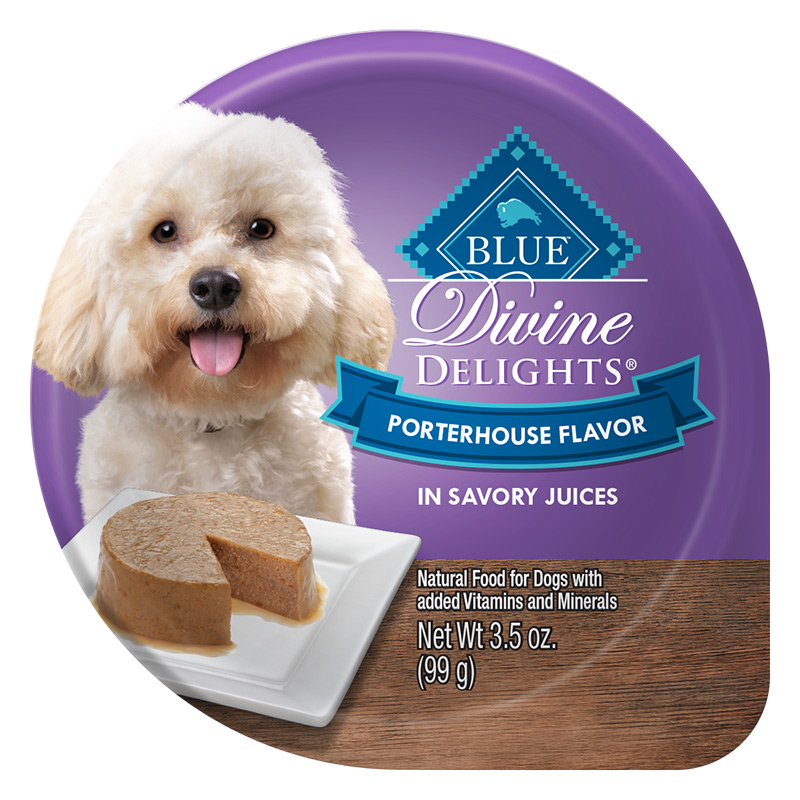 Blue Buffalo Divine Delights Porterhouse Flavor in Savory Juices for Dogs 3.5 oz. Tray I014789