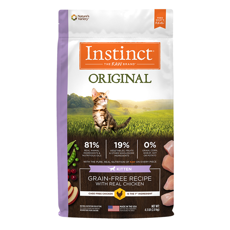 Nature's Variety Instinct Original Kitten Grain-Free Recipe with Real Chicken Dry Cat Food 4.5 Lb. Bag I014878