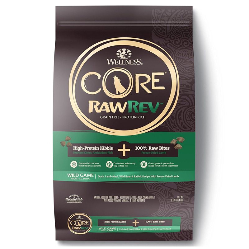 Wellness CORE RawRev Wild Game + 100% Raw Lamb, Wild Boar, & Rabbit Dog Food I014898b
