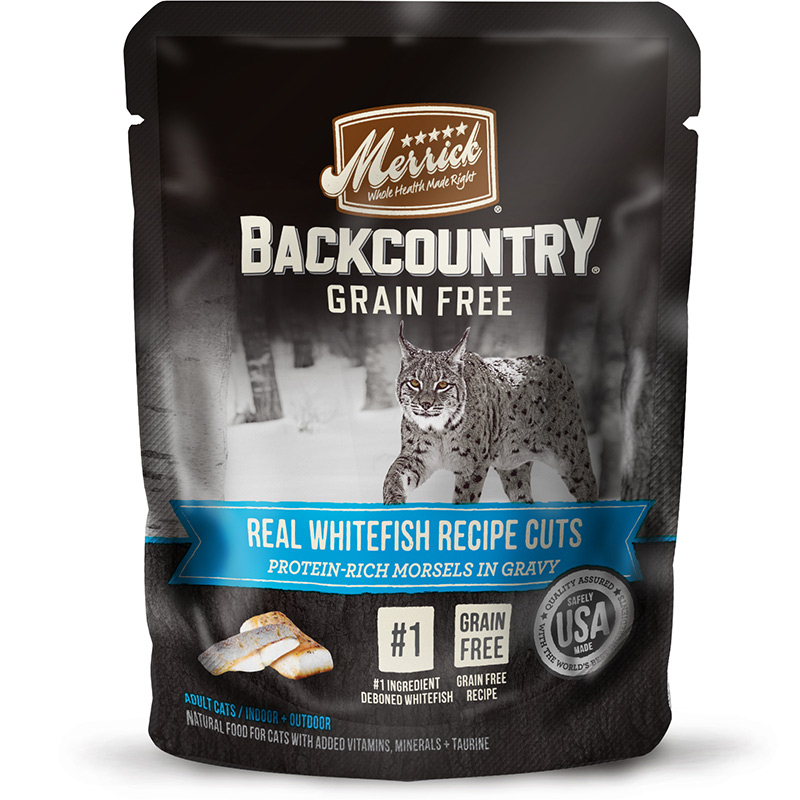 Merrick Backcountry Grain Free Real Whitefish Recipe Cuts for Cats 3 oz. I014928