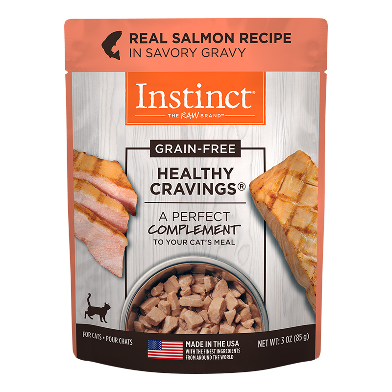 Nature's Variety Healthy Cravings Grain-Free Real Salmon Recipe Wet Cat Food Topper 3 oz pouch I014942