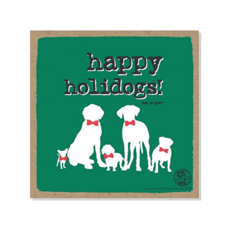 "Happy Holidogs Wood Plaque 5"" x 5"" I015090"