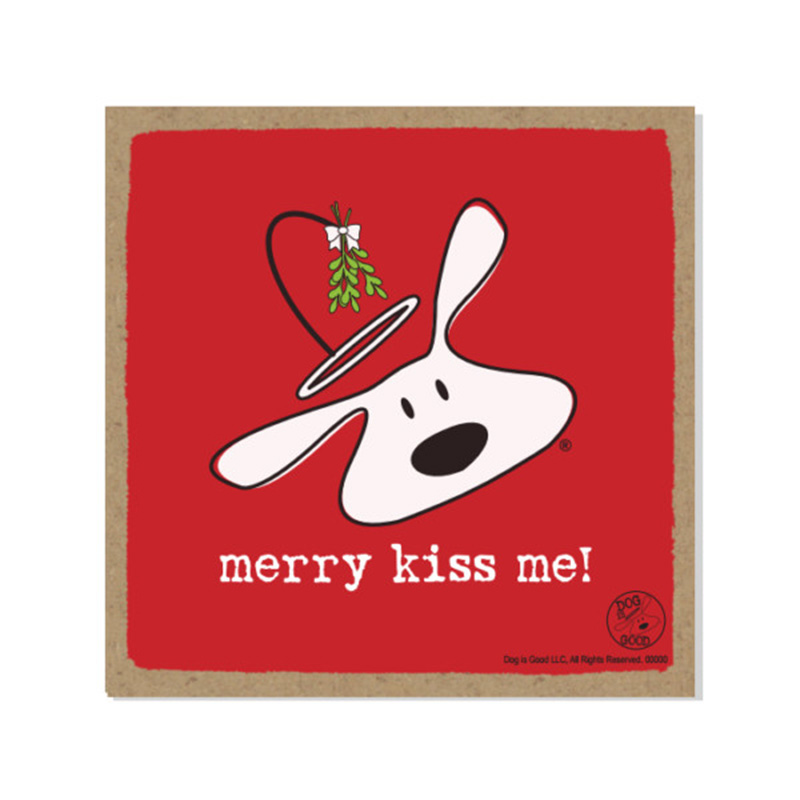 "Merry Kiss Me Wood Plaque 5""x 5"" I015091"