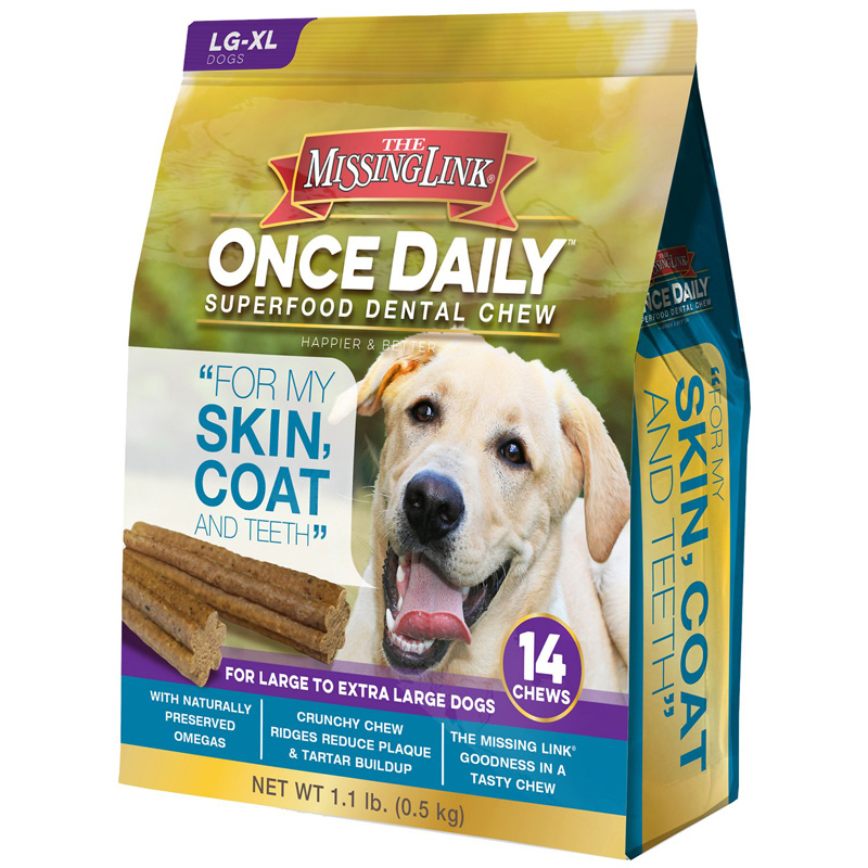 The Missing Link Once Daily Superfood Dental Chew Skin, Coat & Teeth 14ct  I015171