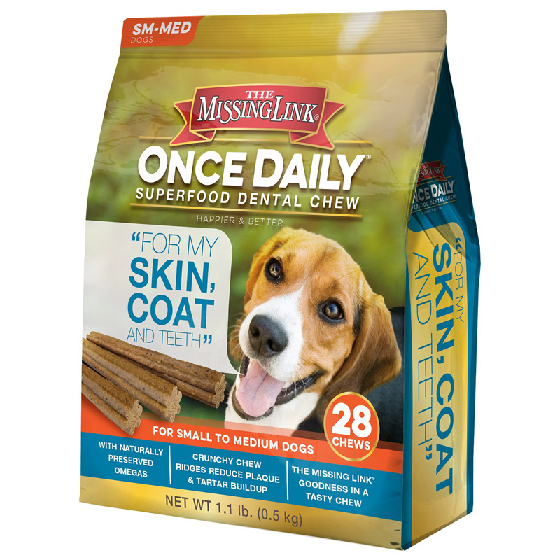 The Missing Link Once Daily Superfood Dental Chew Skin, Coat & Teeth For Small to Medium Dogs 28 ct  I015172
