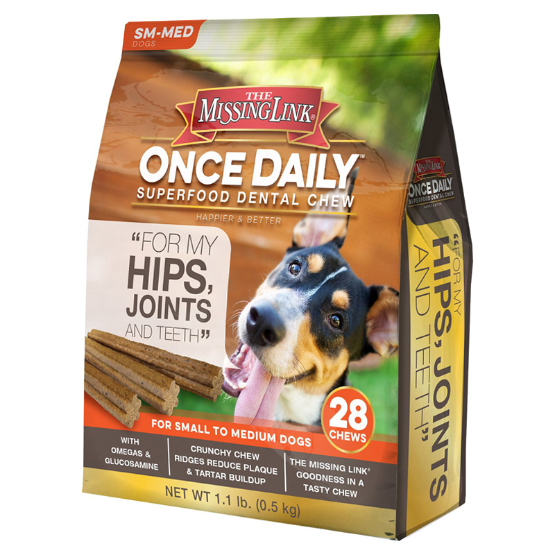 The Missing Link Once Daily Superfood Dental Chew Hips Joints & Teeth For Small to Medium Dogs 28ct I015174