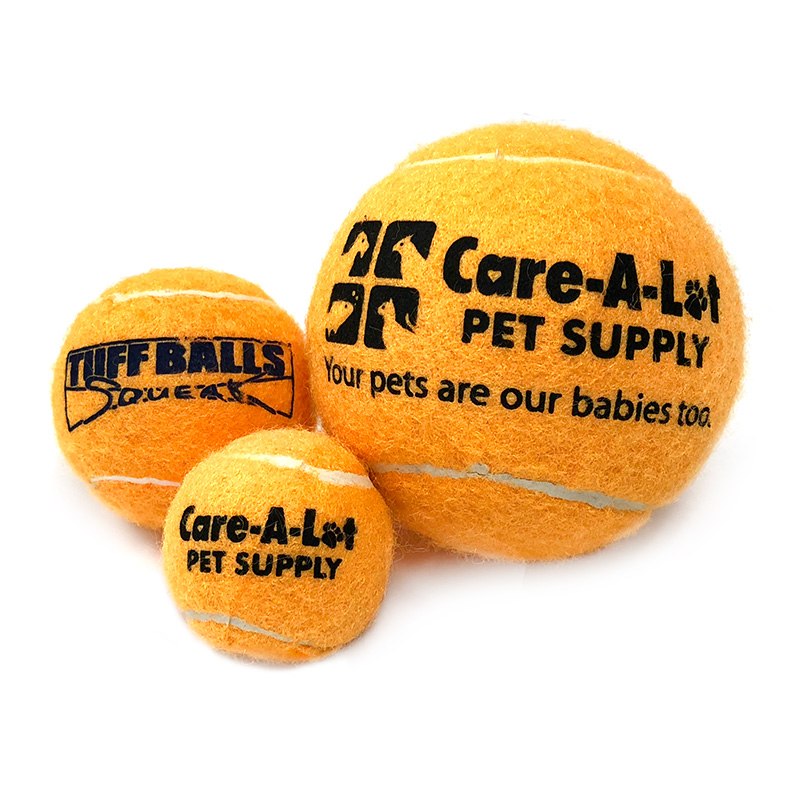 Care-A-Lot Pet Supply Orange Tennis Ball With TUFFBALLS Squeaker I015413b