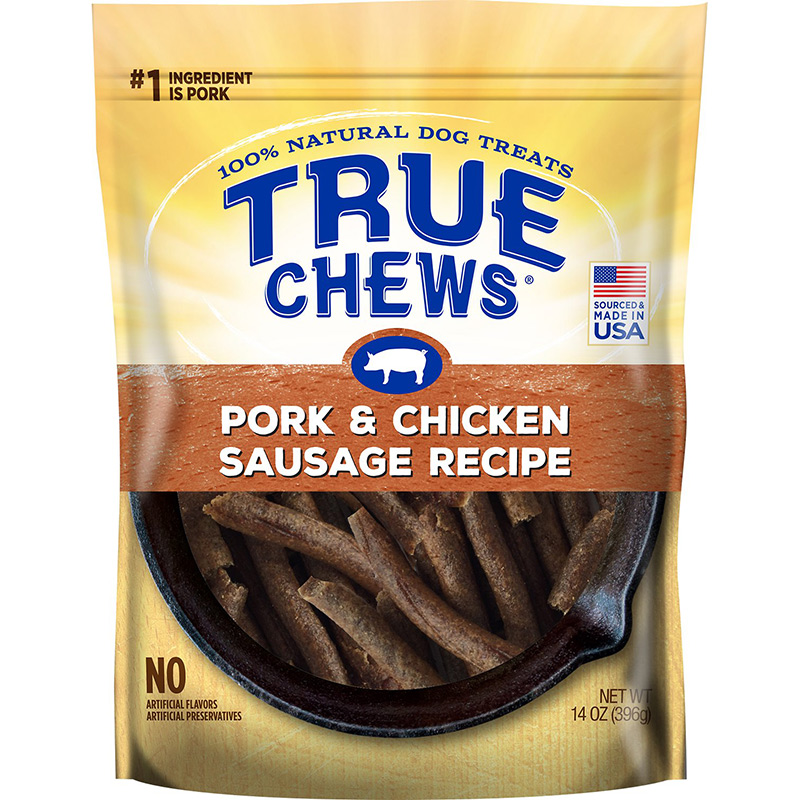 Tyson True Chews Premium Recipes Pork & Chicken Sausage Recipe Dog Treat 14 oz. I015621