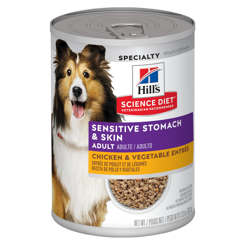 Hill's Science Diet Adult Sensitive Stomach and Skin Salmon & Vegetable Entrée Dog Food 12.8 oz  I015646