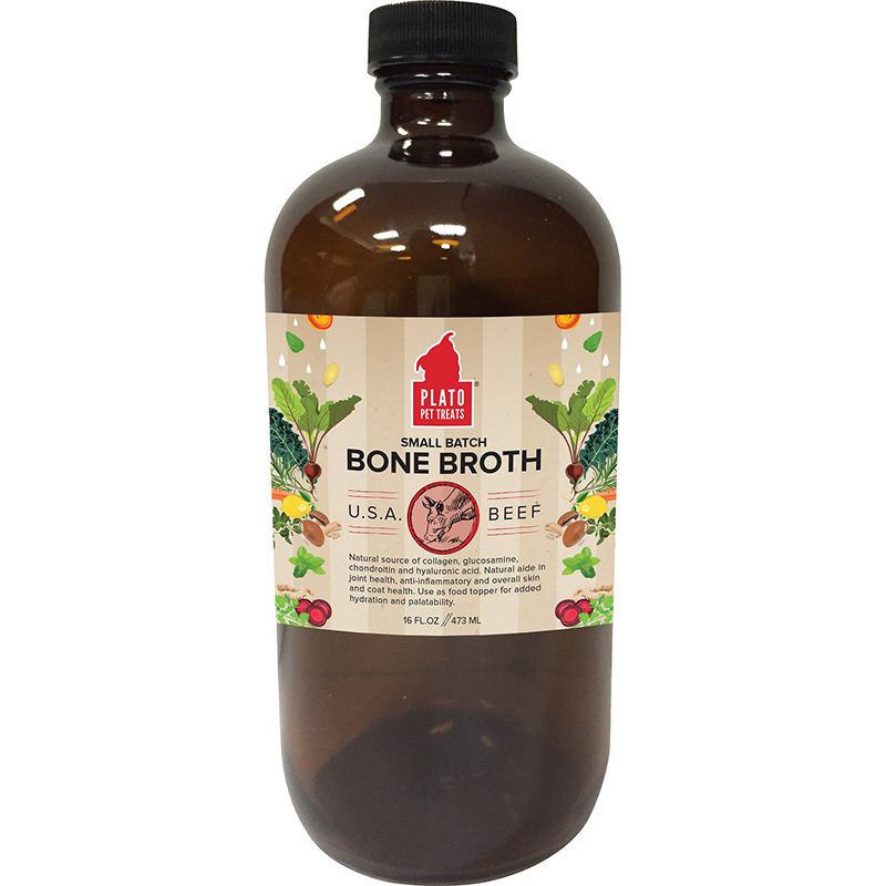 Plato Pet Treats Small Batch Bone Broth Beef 16 oz. I015712