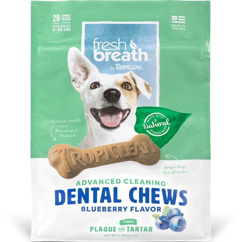TropiClean Fresh Breath Advanced Cleaning Dental Chews Blueberry for Small Dogs I016168