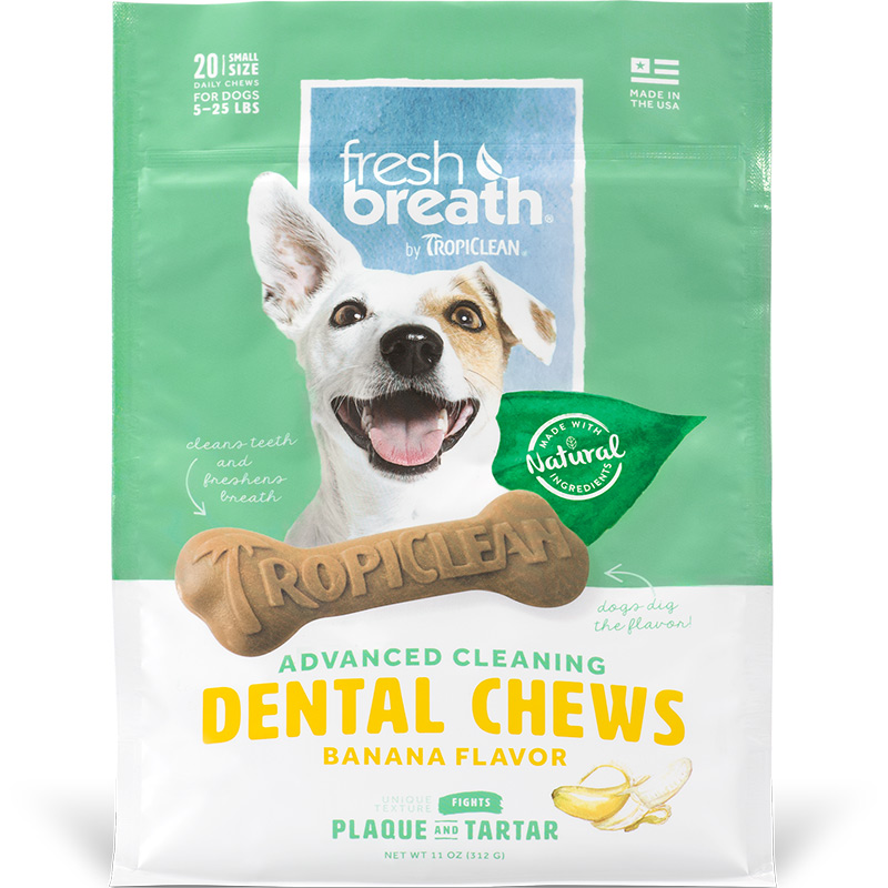 TropiClean Fresh Breath Advanced Cleaning Dental Chews Banana for Small Dogs I016169