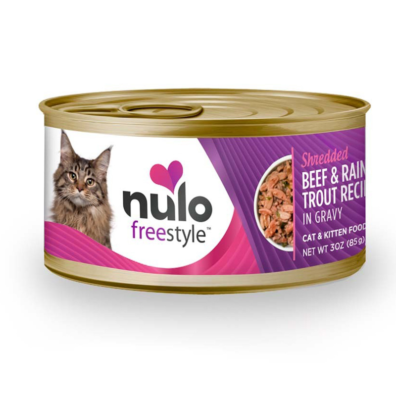 Nulo Freestyle Shredded Beef & Rainbow Trout Recipe In Gravy Cat & Kitten Food 3 oz  I016371