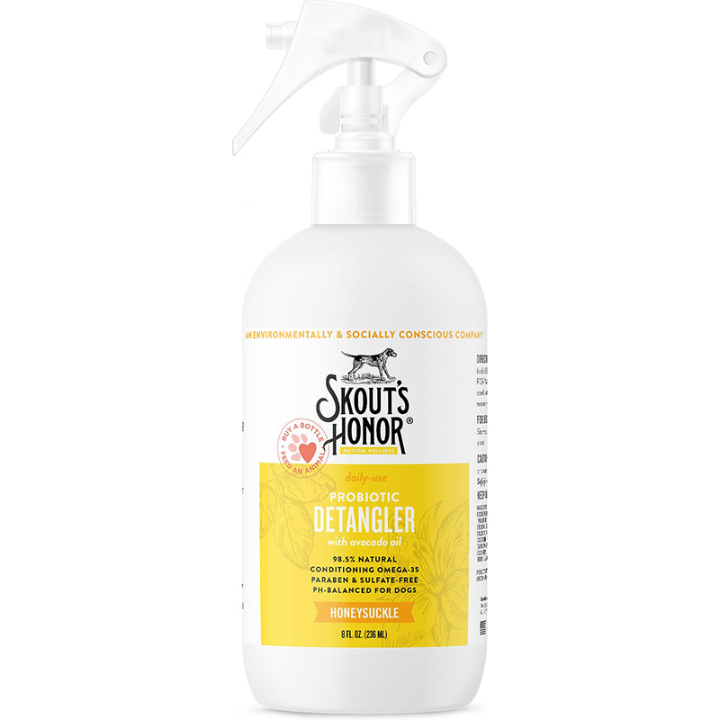 Skout's Honor Probiotics Honeysuckle Pet Detangler Spritzer With Avacado Oil 8 oz. I016380