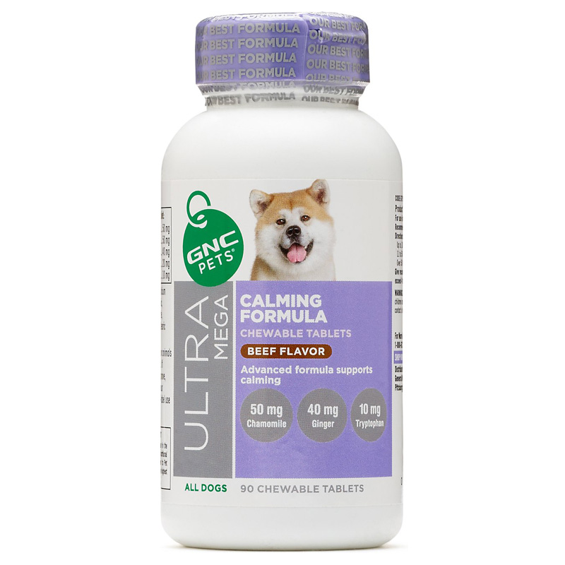 GNC Pets Ultra Mega Calming Formula for All Dogs Beef Flavor Supplements 90 ct I016394