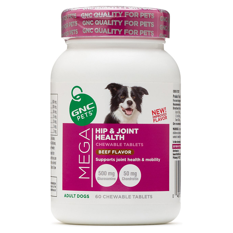 GNC Pets Mega Hip & Joint Health Chewable Tablets for Adult Dogs Beef Flavor 60 ct  I016411