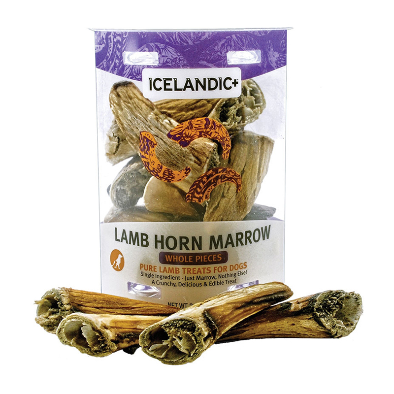 Icelandic + Lamb Horn Marrow Whole Pieces Dog Treat 2.5 oz.  I016486