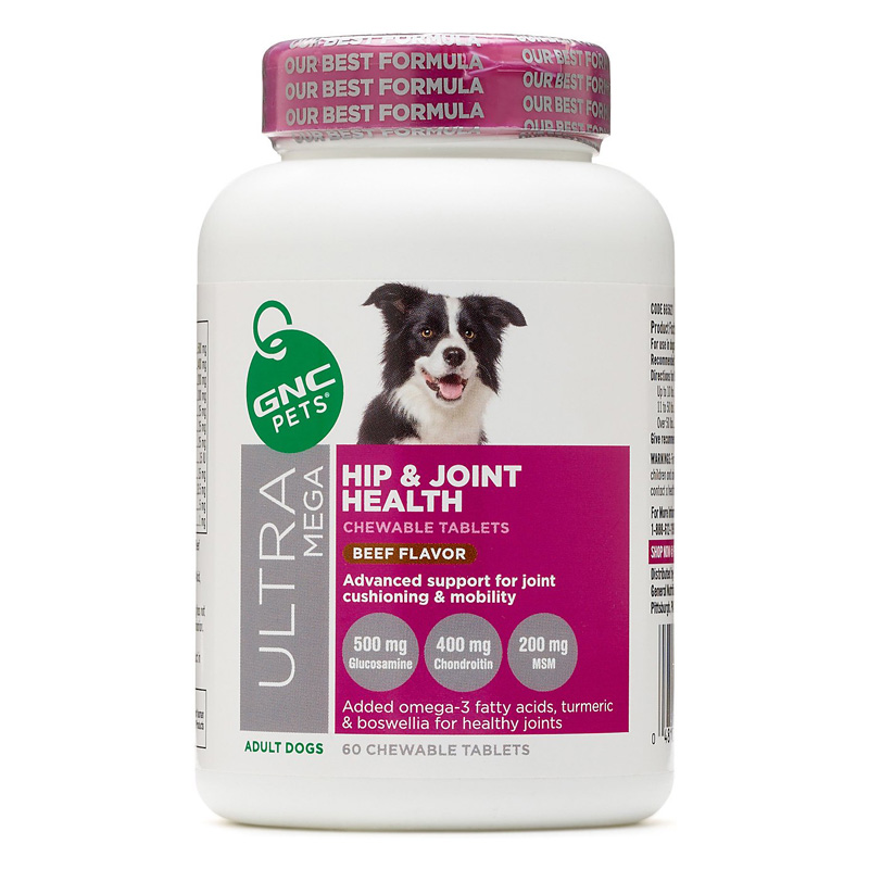 GNC Pets Ultra Mega Hip & Joint Health Chewable Tablets for Adult Dogs Beef Flavor 60 ct I016501