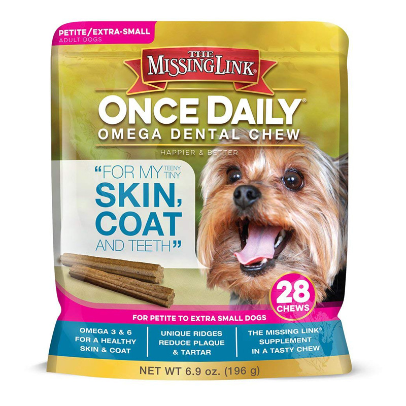 The Missing Link Once Daily Superfood Dental Chew Skin, Coat & Teeth For Petite to Extra Small Dogs 28ct  I016627