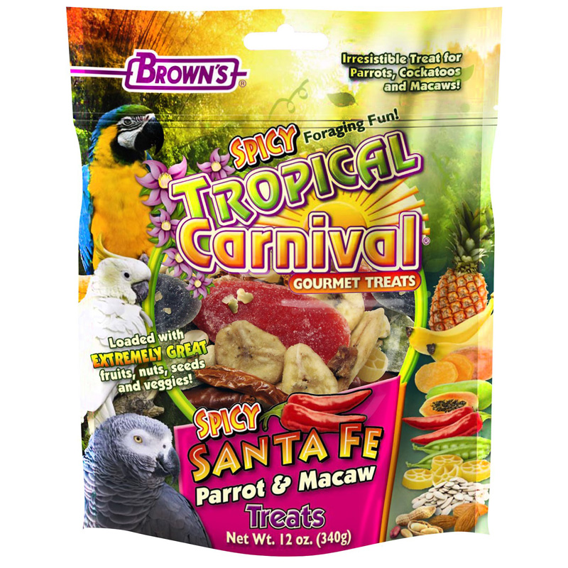 F.M Brown's Tropical Carnival Spicy Santa Fe Parrot & Macaw Treats 12 oz I016709