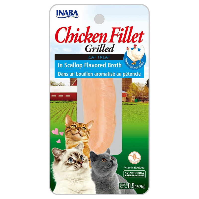 Inaba Ciao Grilled Chicken Fillet in Scallop Flavored Both Cat Treat 0.9 oz I016722