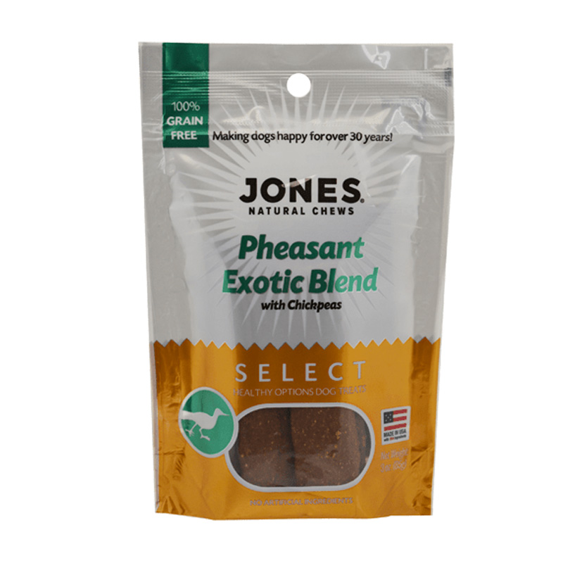 Jones Natural Chews Exotic Pheasant with Chickpeas Dog Treats 3 oz I016725