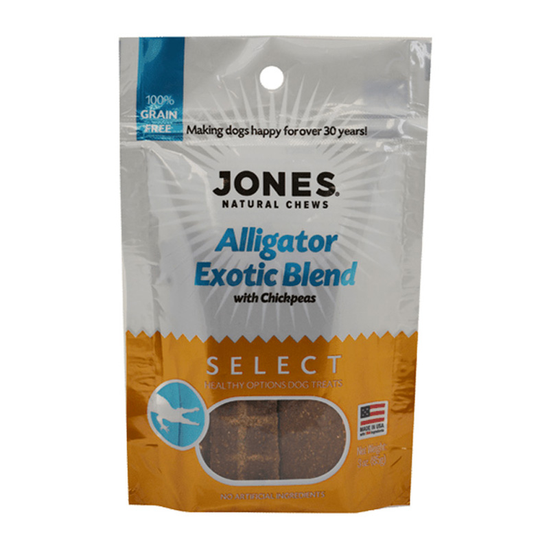 Jones Natural Chews Alligator with Chickpeas Exotic Blend Dog Treats 3 oz I016727