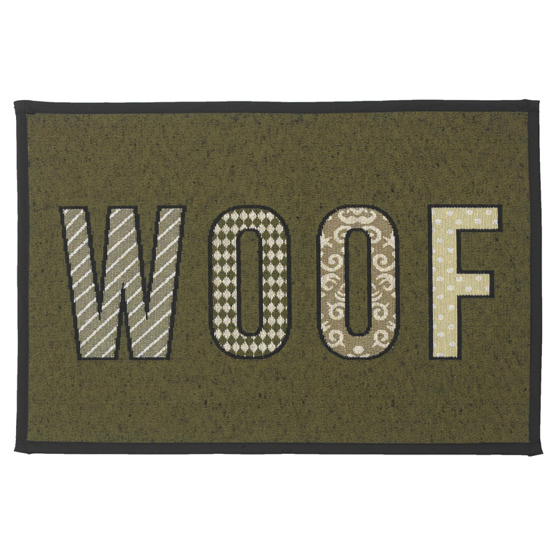 PetRageous Woof Tapestry Placemat Olive/Black I016746