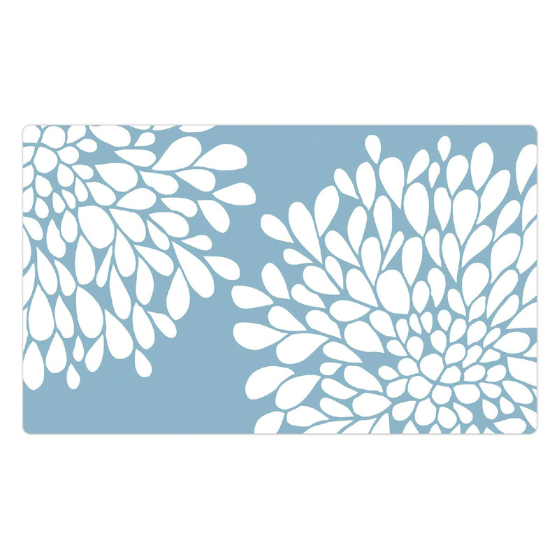"Drymate Pet Bowl Placemat Rejuvenation Blue Flowers 12"" X 20"" I016834"