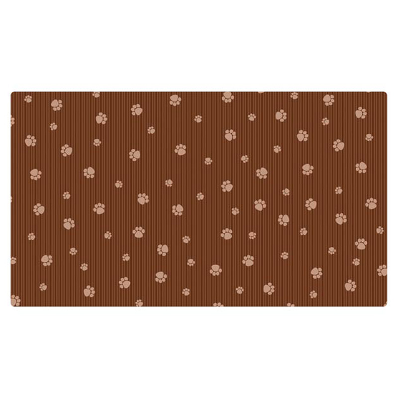 Drymate Dog Crate Mat Brown Stripe & Paws  I016842b